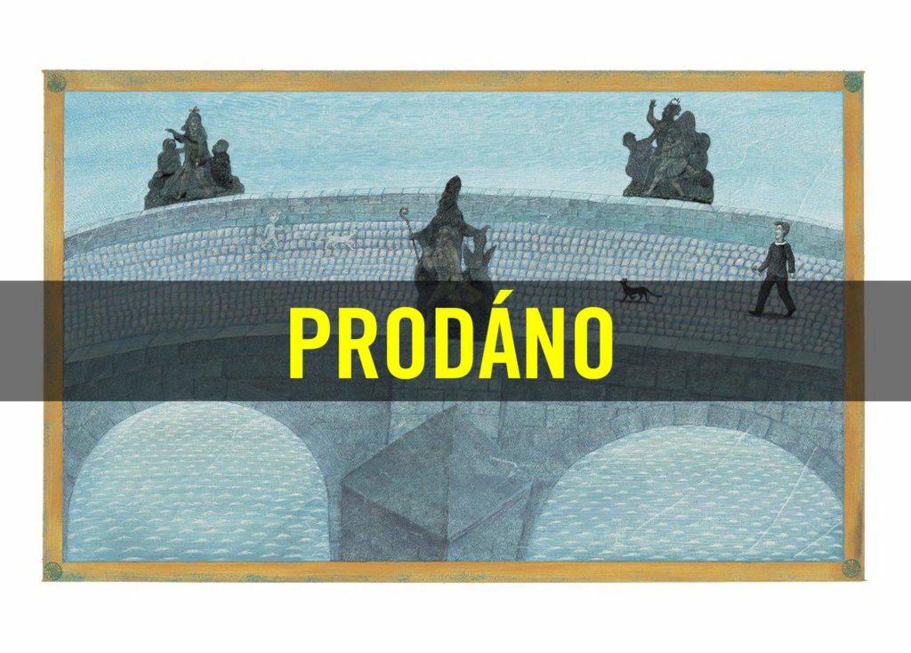 Petr Sís - Tři zlaté klíče - Karlův Most, reprodukce kresby, 30 x 42 cm