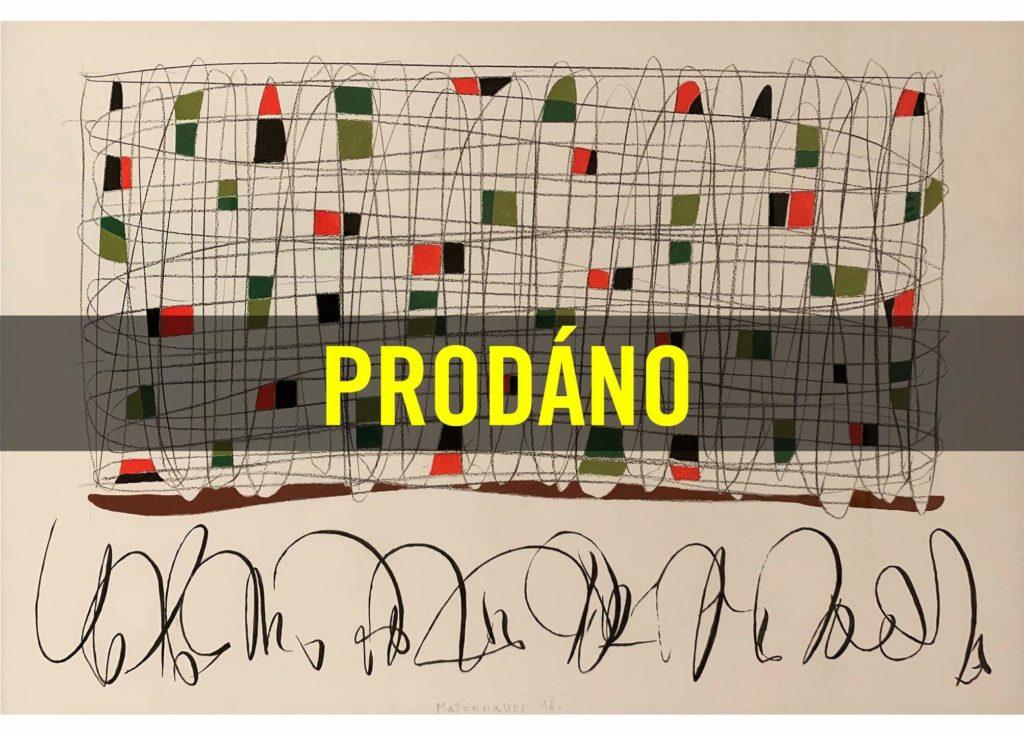 Michal Matzenauer – Bez názvu, akryl a tužka na papíře, 50 x 70 cm