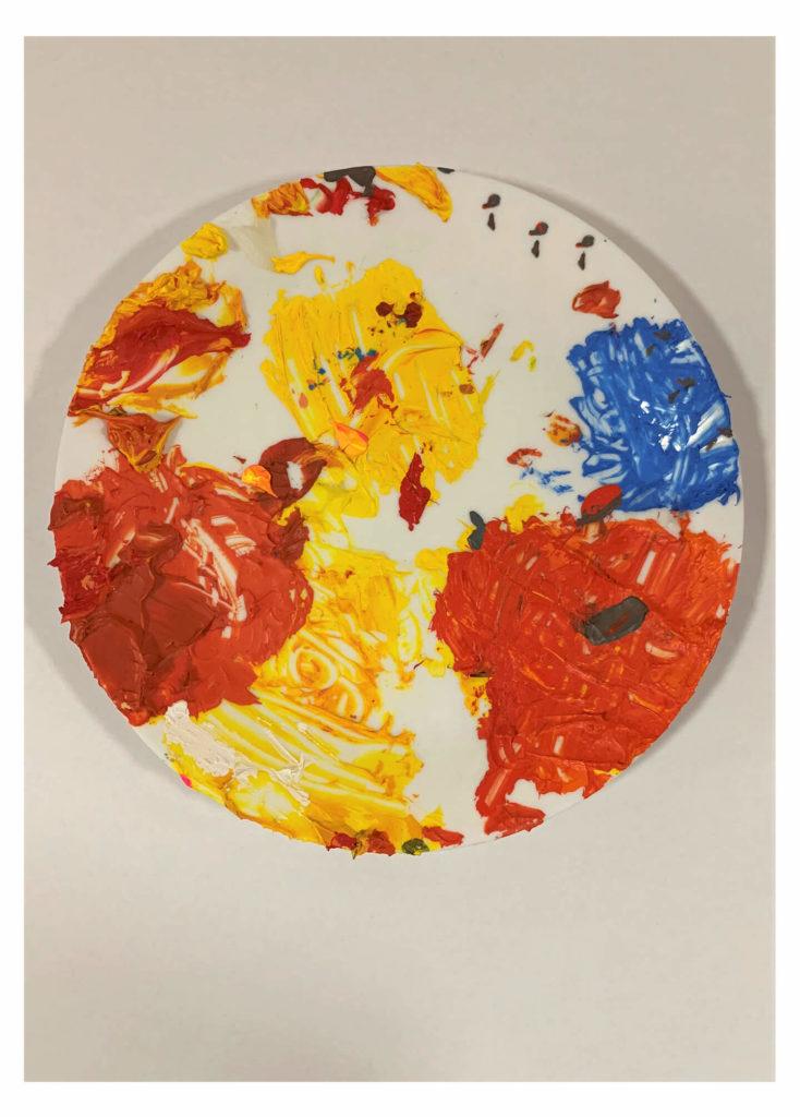 Lukáš Trnka - Barevné hody III., akryl na talíři, 25 cm