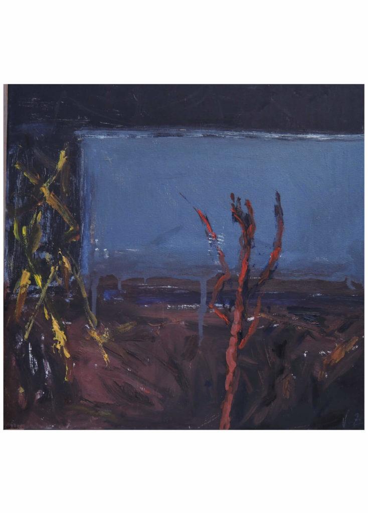 Václava Zouplnová - Proti zdi, olej na plátně, 30 x 30 cm